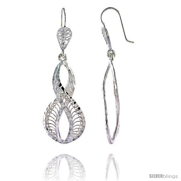 Primary image for Sterling Silver 2in  (51 mm) tall Wavy Filigree Dangle