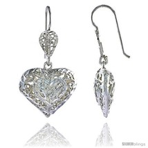 Sterling Silver 1 3/16in  (30 mm) tall Puffed Heart Filigree Dangle  - $37.37