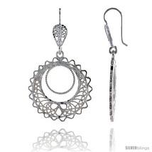 Sterling Silver 1 11/16in  (43 mm) tall Filigree Dangle Earrings, w/ Circle Cut  - $39.00