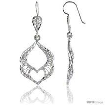 Sterling Silver 1 13/16in  (47 mm) tall Filigree Dangle Earrings, w/ Heart Cut  - $32.98