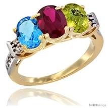 Gold natural swiss blue topaz ruby lemon quartz ring 3 stone oval 7x5 mm diamond accent thumb200