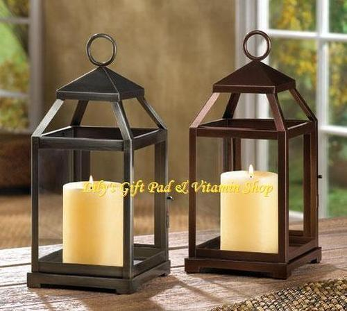 Primary image for Contemporary CANDLE LANTERN Iron & Glass BRONZE Or RUSTIC SILVER (#14125,6)