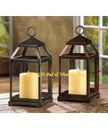 Contemporary CANDLE LANTERN Iron & Glass BRONZE Or RUSTIC SILVER (#14125,6) - $34.00