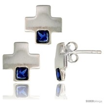 Sterling Silver Matte-finish Greek Cross Earrings (10mm tall) & Pendant Slide  - $38.26
