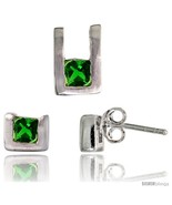 Sterling Silver Matte-finish U-shaped Stud Earrings (6mm tall) & Pendant... - $42.76