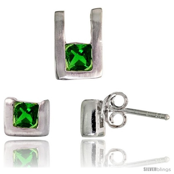 E finish u shaped stud earrings 6mm tall pendant 10mm tall set w princess cut emerald colored cz
