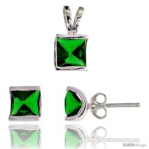 Sterling Silver Square-shaped Stud Earrings (7 mm) & Pendant (12mm tall) Set,  - $39.16