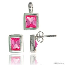 Sterling Silver Matte-finish Rectangular Earrings (8mm tall) & Pendant (13mm  - $55.36