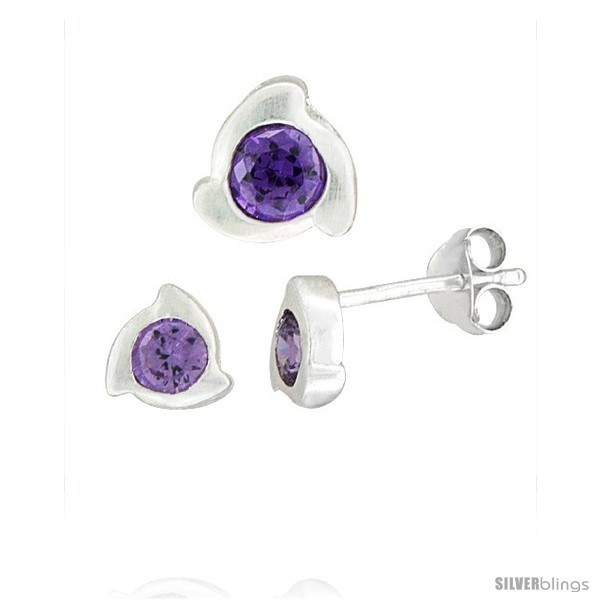 E finish fancy stud earrings 6 mm pendant slide 8mm tall set w brilliant cut amethyst colored cz