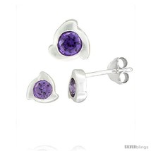 Fancy stud earrings 6 mm pendant slide 8mm tall set w brilliant cut amethyst colored cz thumb200
