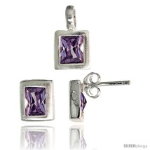 H rectangular earrings 8mm tall pendant 13mm tall set w emerald cut amethyst colored cz thumb200