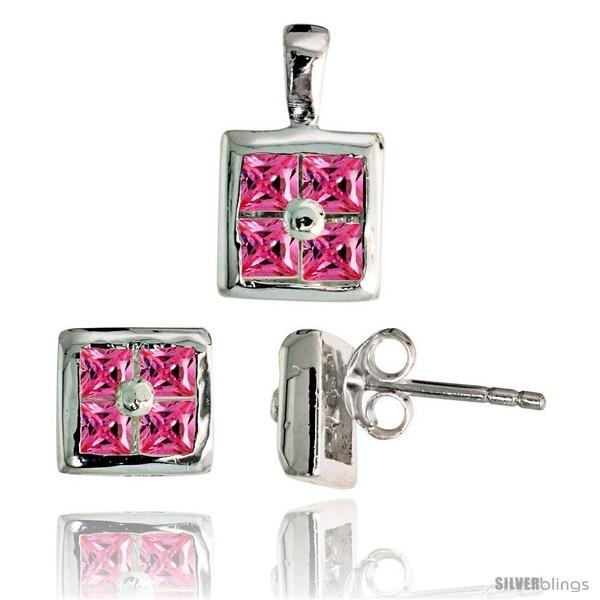 Uare shaped stud earrings 6 5 mm pendant 11mm tall set w princess cut pink tourmaline colored cz