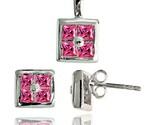 Ud earrings 6 5 mm pendant 11mm tall set w princess cut pink tourmaline colored cz thumb155 crop