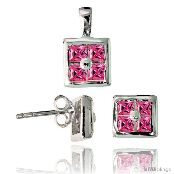Sterling Silver Square-shaped Stud Earrings (6.5 mm) & Pendant (11mm tall) Set,