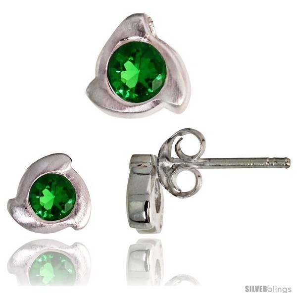 Te finish fancy stud earrings 6 mm pendant slide 8mm tall set w brilliant cut emerald colored cz
