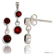 Sterling Silver Dangle Earrings (13mm tall) & Pendant (17mm tall) Set, w... - $49.96