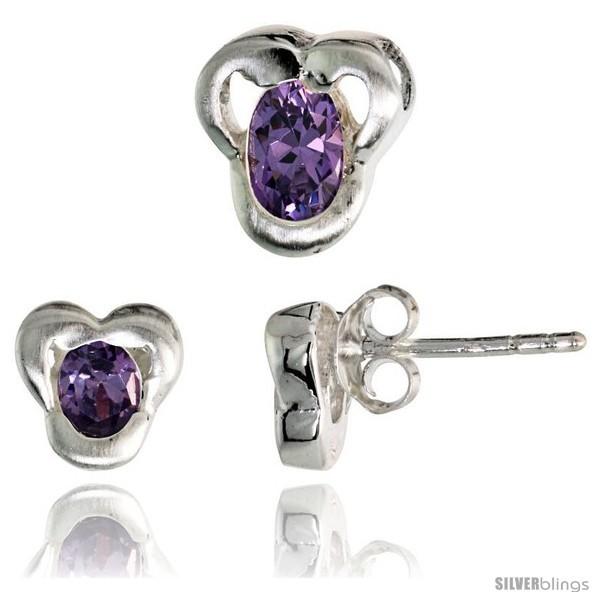 Te finish fancy stud earrings 7mm tall pendant slide 9mm tall set w oval cut amethyst colored cz