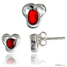 Sterling Silver Matte-finish Fancy Stud Earrings (7mm tall) & Pendant Slide  - $37.36