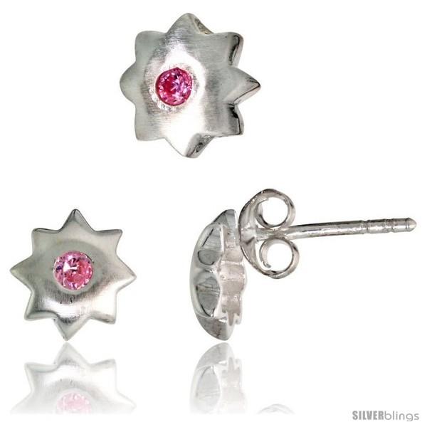 Finish star stud earrings 7 mm pendant slide 8 mm set w brilliant cut pink tourmaline colored cz