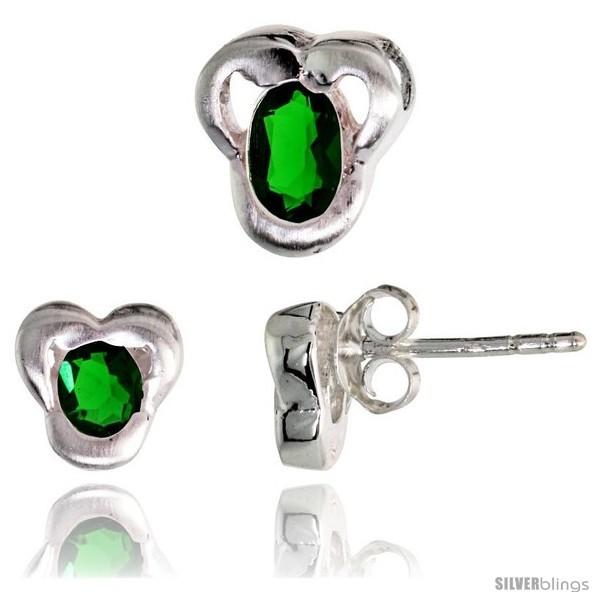 Tte finish fancy stud earrings 7mm tall pendant slide 9mm tall set w oval cut emerald colored cz