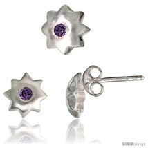 Sterling Silver Matte-finish Star Stud Earrings (7 mm) & Pendant Slide (... - $37.36