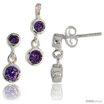 Sterling Silver Dangle Earrings (13mm tall) & Pendant (17mm tall) Set, w/ Bezel  - $49.96