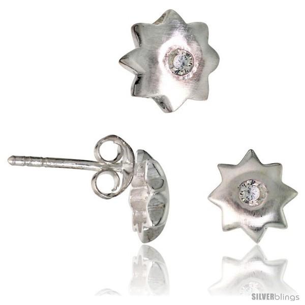 Sterling Silver Matte-finish Star Stud Earrings (7 mm) & Pendant Slide (8 mm)