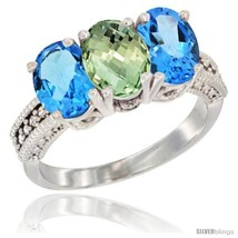 Size 5.5 - 14K White Gold Natural Green Amethyst & Swiss Blue Topaz Side... - $725.08