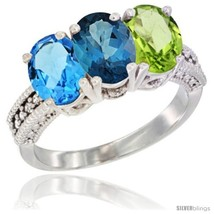 An item in the Jewelry & Watches category: Size 5 - 14K White Gold Natural Swiss Blue Topaz, London Blue Topaz & Peridot