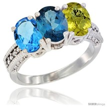 Size 9.5 - 14K White Gold Natural Swiss Blue Topaz, London Blue Topaz & ... - €633,58 EUR