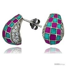 Sterling Silver 5/8in  (16 mm) tall Post Earrings, Rhodium Plated w/ CZ ... - $39.78