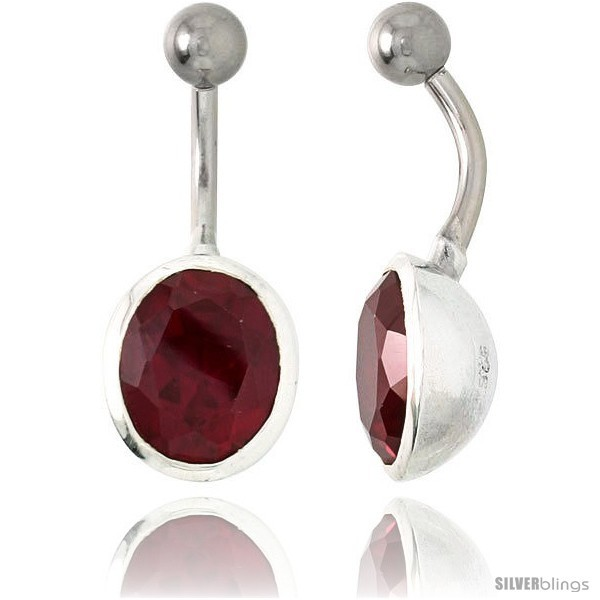 Large Oval Belly Button Ring with Red Cubic Zirconia on Sterling Silver  - $33.05