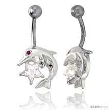 Dolphins Belly Button Ring with Clear Cubic Zirconia on Sterling Silver  - $33.05