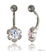 Flower Belly Button Ring with Clear Cubic Zirconia on Sterling Silver Se... - $33.05