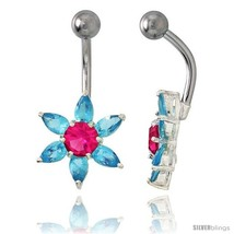 Sunflower Belly Button Ring with Blue Topaz Cubic Zirconia on Sterling Silver  - $33.05