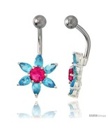 Sunflower Belly Button Ring with Blue Topaz Cubic Zirconia on Sterling S... - $33.05