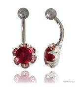 Flower Belly Button Ring with Ruby Red Cubic Zirconia on Sterling Silver  - $33.05