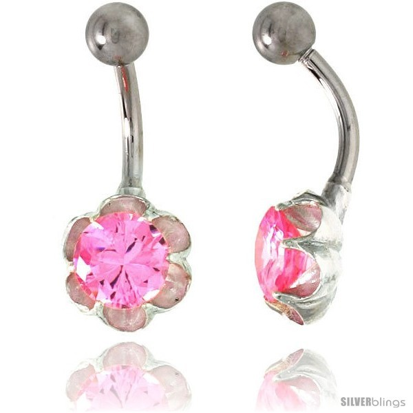 Primary image for Flower Belly Button Ring with Pink Cubic Zirconia on Sterling Silver Setting