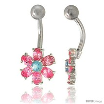 Flower Belly Button Ring with Pink Cubic Zirconia on Sterling Silver Setting  - $33.05