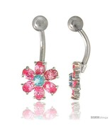 Flower Belly Button Ring with Pink Cubic Zirconia on Sterling Silver Set... - $33.05