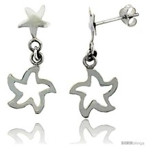 Sterling Silver Starfish Cut Out Dangle Earrings, 1 1/8in  (28 mm)  - $22.14