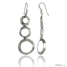 Sterling Silver Graduated Circle Cut Outs Dangle Earrings, 2 1/8in  (53 mm)  - $25.74