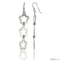 Sterling Silver Triple Flower Cut Out Dangle Earrings, 2in  (51 mm)  - $25.74