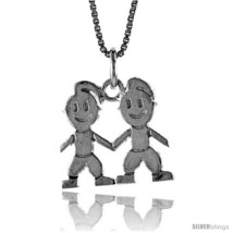 Sterling Silver Boy and Girl Pendant, 5/8 in  - $45.26
