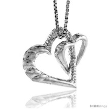 Sterling Silver Double Floating Hearts 3/4 in  - $43.42
