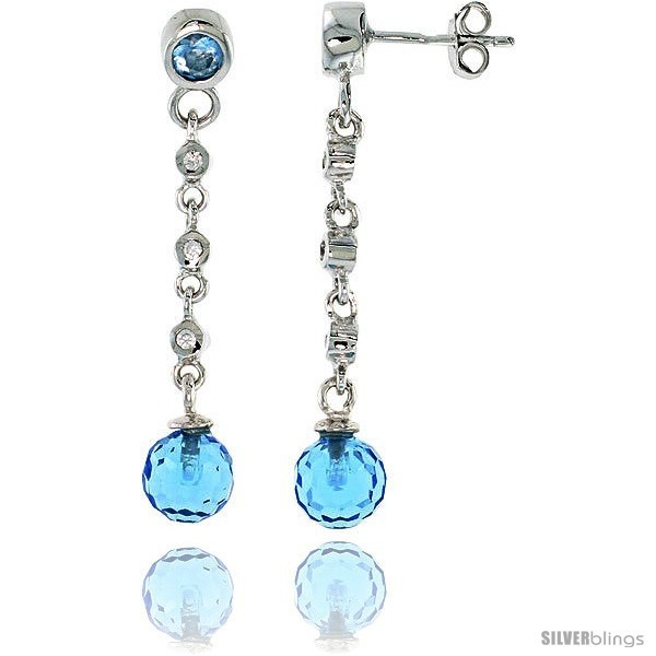 Primary image for Sterling Silver Dangling Post Earrings, w/ Blue Cubic Zirconia, 1 9/16 (39