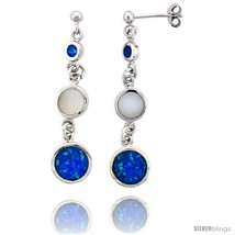 Sterling Silver 3-stone Dangle Earrings Synthetic Opal and Mother of pearl  - $101.24
