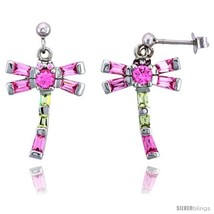 Sterling Silver Dragonfly Dangle Earrings w/ Baguette Yellow Topaz-colored,  - $85.97
