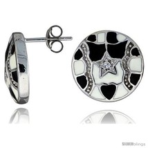 Sterling Silver 9/16in  (15 mm) tall Post Earrings, Rhodium Plated w/ CZ Stones, - $59.44
