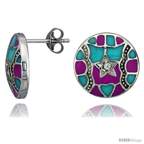 Primary image for Sterling Silver 9/16in  (15 mm) tall Post Earrings, Rhodium Plated w/ CZ Stones,